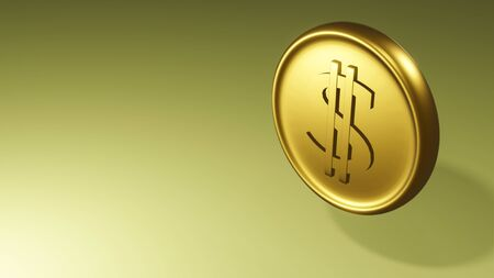 Gold coin with dollar sign. illustration on yellow background. 3D render.