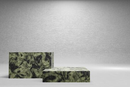 Empty black and white marble podium on white background. 3D rendering. Banque d'images