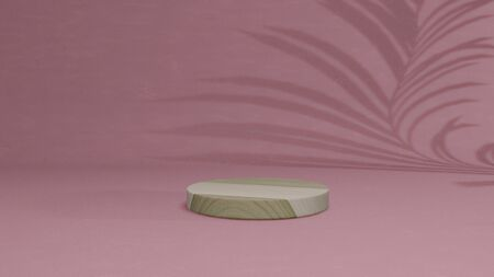 3D render Wood mockup with pink background, display showcase.