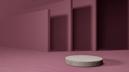 Blank product stand  on pink color background. 3d rendering. Banque d'images