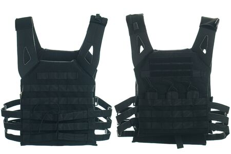 Bulletproof vest isolated on white background. back and front Foto de archivo