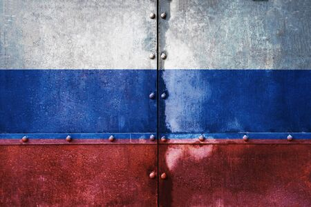 Russia flag old metal tank texture, on metal panels with rivets metal background