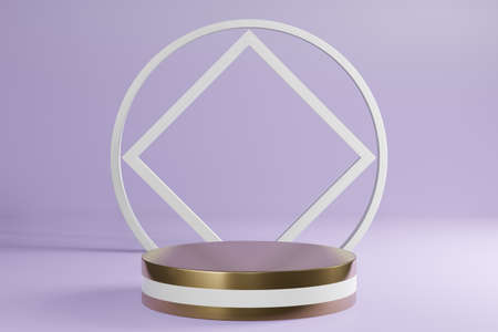 White and golden cylinder product standon purple background, pedestal podium display, 3D Rendering. Фото со стока