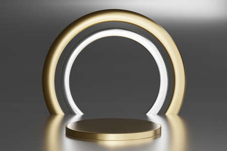 Blank pedestal with round gold ring on gray background, 3d rendering mockup