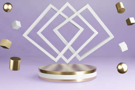 White and golden product stand  on purple background with decoration, pedestal podium, 3D Rendering. Archivio Fotografico