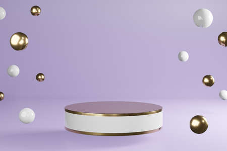 White and golden cylinder product stand with decoration on purple background, pedestal podium display, 3D Rendering. Фото со стока