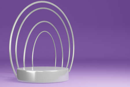 Product Stand, Pedestal, Cylinder Shape, Circle Frame, Purple background and White ring, 3D Rendering.