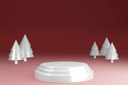 Glass texture blank pedestal product stand with white christmas tree on red background, showcase, 3d render.