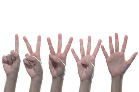 Hand action number 1, 2, 3, 4, 5 set. 스톡 콘텐츠