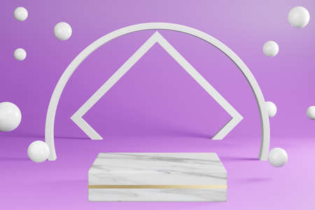 White marble pedestal product stand on purple background  with decoration Podium display, 3D rendering.