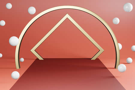 Golden ring backdrop with white ball decoration on red carpet. 3d render