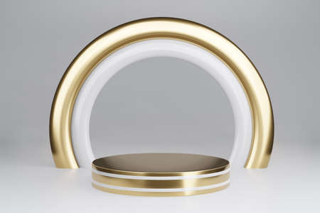 Blank pedestal with round gold frame on gray background, 3d rendering mockup
