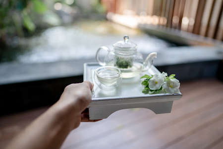 Hand holding the tray served transparent teapot with herbal tea. Stockfoto