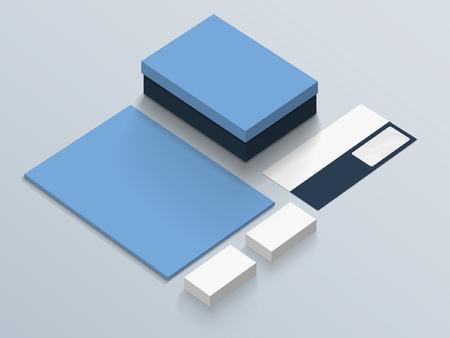 Isometric Stationery Mockup. Vector illustration. Illustration