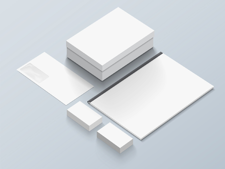 Isometric Stationery Mockup With Logo Template. Vector illustration. Illustration
