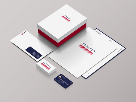 Isometric Stationery Mockup With Logo Template For Your Presentation. Vector illustration.