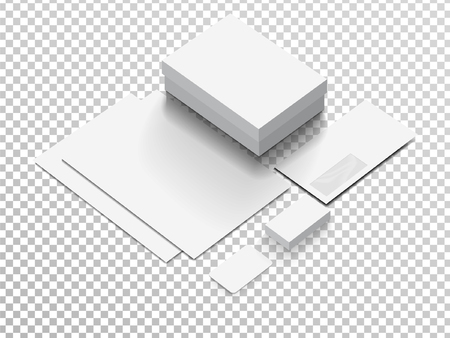 Isometric Stationery Mockup For Your Presentation. Vector illustration.