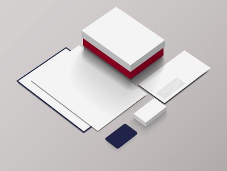 Isometric Stationery Mockup For Your Presentation. Vector illustration.