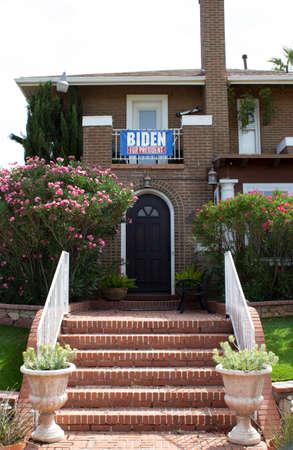 Joe Biden for president banner on a nice home.