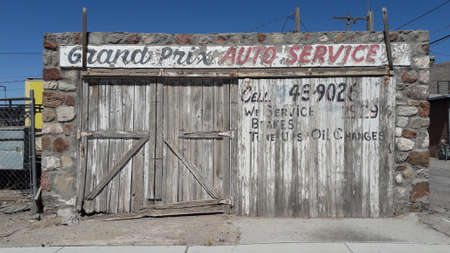 Old wooden car garage building