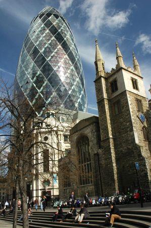 re: Swiss Re Bank - London Stock Photo