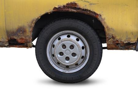 rusty car: Rusty car - white background