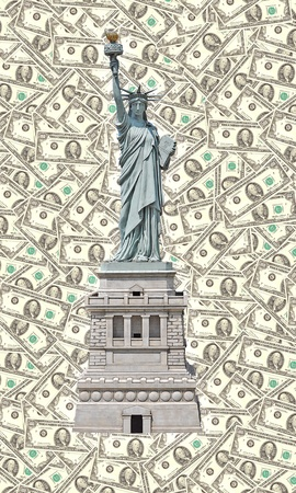 Statue of Liberty - One hundred U S  dollars background  photo