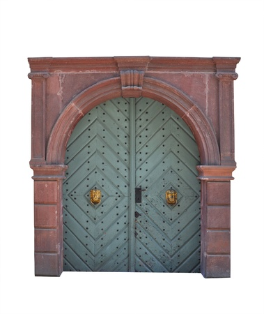 Old large wooden door - door portal  photo