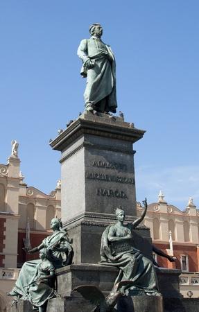 mickiewicz: Adam Mickiewicz Statue in Cracow, Krakow - Poland