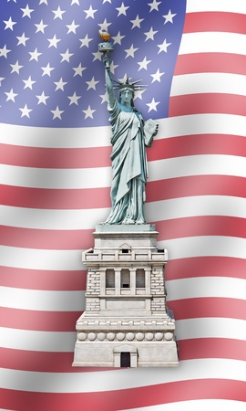verenigde staten vlag: Statue of Liberty - Verenigde Staten - Vlag achtergrond Stockfoto