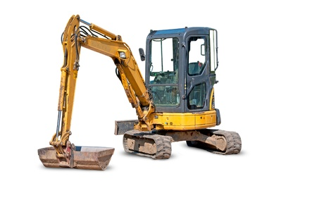 trench:  Yellow Excavator at Construction Site - white background  Yellow Excavator at Construction Site - white background