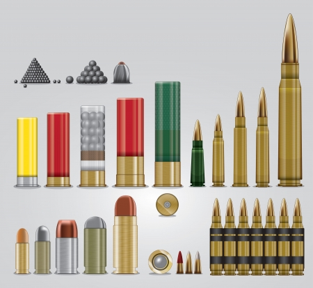Full set of vector ammunition types for different kinds of firearms  Vectores