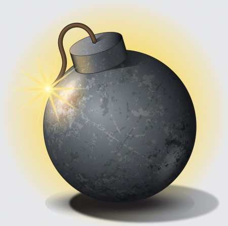 High quality vector illustration of an old bomb with fuse set on fire