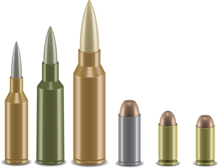 warfare: Vector set of different types of rifle and pistol ammunition in 3d style