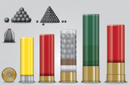 gun shell: Vector set odshotgun municiones Vectores