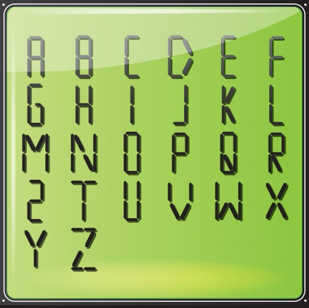 od: Vector illustration  Set od letters placed on LCD screen