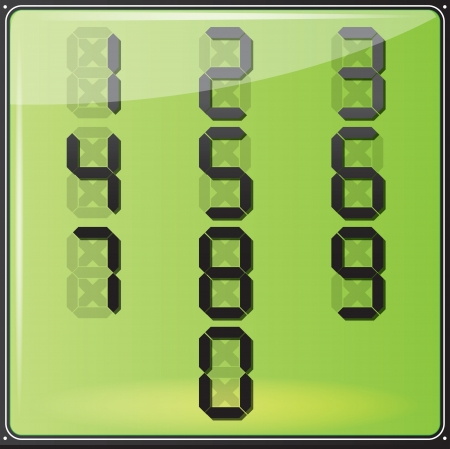 Vector illustration  Set od numbers placed on LCD screen