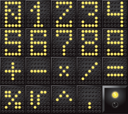 arithmetic: numbers and arithmetic symbols shown on led dot display  Illustration