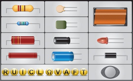resistor: Vector set of different electronic parts with their symbols  Illustration