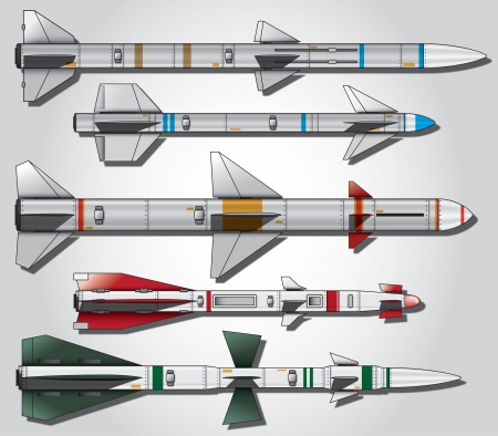 Detailed vector set of custom air to air missiles