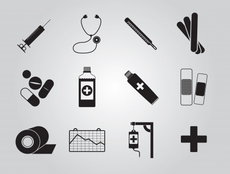 sirup: Set of simple shaped medicine icons