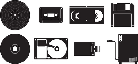 fdd: icon set showing different kinds of devices used for storing data