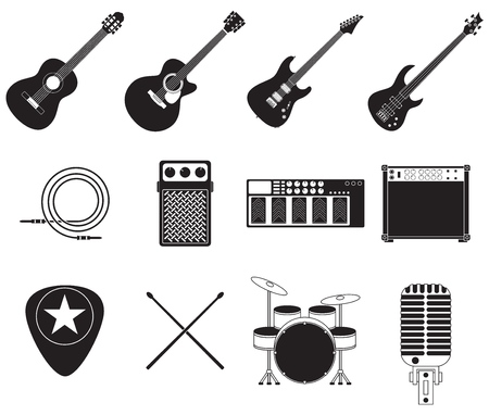Set of different rock music equipment  Vector