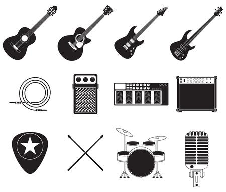 Set van verschillende rock muziek apparatuur
