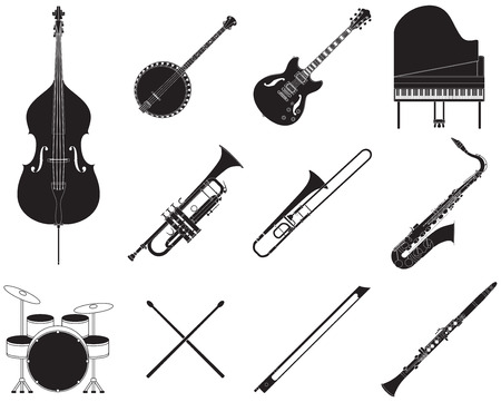 Set of different jazz music instruments. Иллюстрация