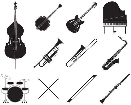 Set of different jazz music instruments. Stock Illustratie