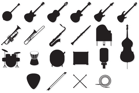 Set of outlines of many different music instruments.