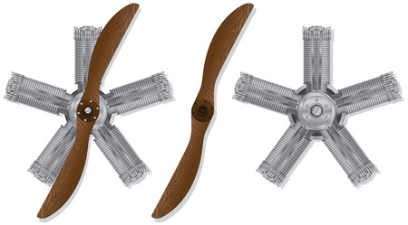 propulsion: Old wooden propeller and star engine on white background
