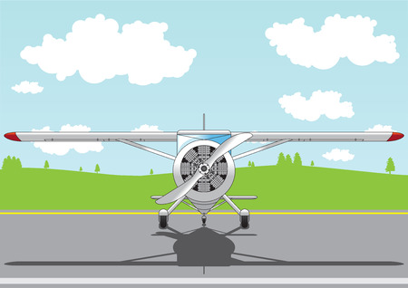 Cartoon airplane standing on an airfield.