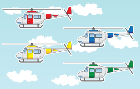 Cartoon set containing helicopters in different colors